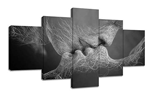 5 Panel Black and White Love Kissing Canvas Prints Wall Art Adam and Eve Home Decor Pictures for Living Room Poster Painting Framed Artwork Ready to Hang