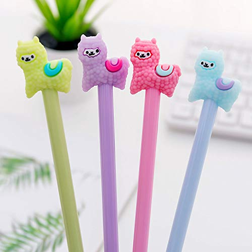 Shuiniba Cartoon Animal Sheep Alpaca Llama Gel Pen, Neutral Pens, Cute Colorful Rollerball Pens for School Office Writing Supplies Stationery Gift, Black Ink, 0.38mm Ball Point - 4PCS
