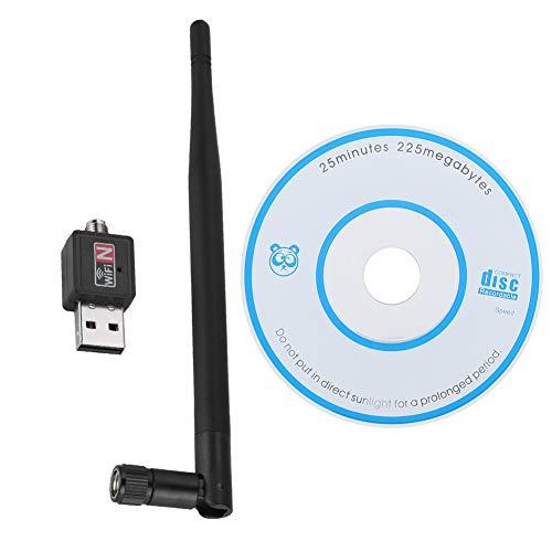 Adaptador USB inalámbrico, Tarjeta de Red WiFi, Receptor de transmisor de señal, Adaptador de 600 Mbps, con Antena de 15 cm de Alto, fácil de Transportar y Usar