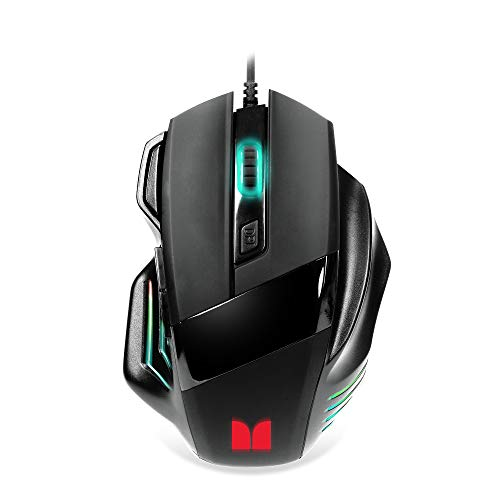 Monster USB Wired Gaming Mouse with Scroll Wheel, Selectable DPI, and Backlit RGB LED Lighting Effects