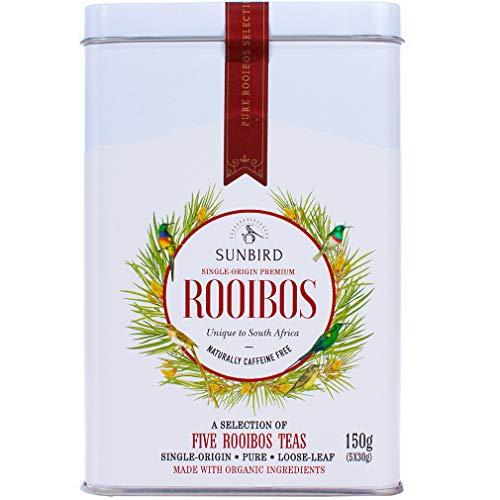 Sunbird Rooibos - Auswahl von 5 einfachen Rooibostee Roter Tee - Ganze Blätter - Zertifiziert Bio - Koffeinfrei - Reich an Antioxidantien - Relax - Detox - Gesunder Tee - 150g