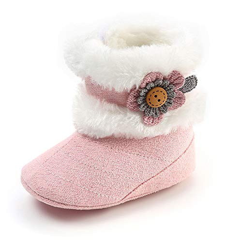 SOFMUO Baby Girls Boys Plush Snow Boots Soft Sole Anti-Slip Mid Calf Warm Winter Toddler Walking Shoes (Pink,0-6 Months)