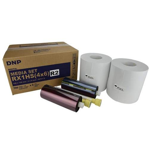 """DNP DS-RX1HS Perforated Printer Media, 4x6 Roll, 2"""" Single Perf, 700 Prints Per Roll, 2-Pack (Total 1400 Prints)"""