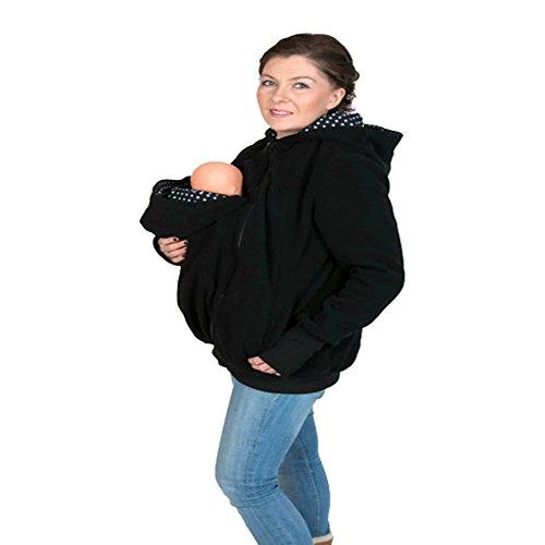 MissChild Damen Babytrage Umstandsjacke 3 in 1 Baby Carrier Hoodies Neugeborene Känguru Jacken Hoodie Freizeitjacke Sweatshirt Mommy Kangaroo Mantel Schwarz 2 Label M (Büste 90-93cm)