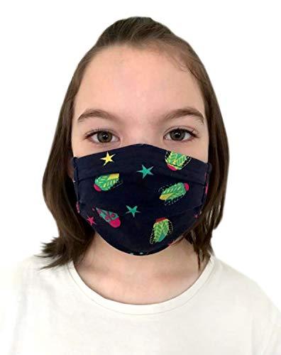 Stoffmaske Mundbedeckung Behelfsmaske Mundschutz Gesichtsmaske Kinder & Erwachsene Baumwollstoff ÖkoTex mit Mustern waschbar wiederverwendbar Farbe Käfer in dunkelblau, Größe Teenager 16x6 cm