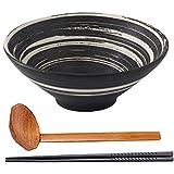 Warren Set de Cuencos de Sopa de Ramen de cerámica, Cocina y Comedor, tazón Grueso de Servicio japonés con Cuchara y Palillos a Juego, Cuencos Pesados, para Sopa, Fideos (1 Juego (3 Piezas), 9 Inch)