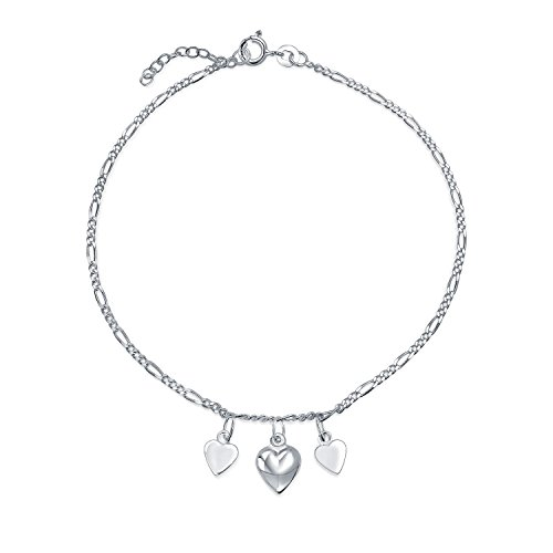 4 Multi Hearts Dangle Charms Anklet Ankle Bracelet For Women .925 Sterling Silver Adjustable 9 To 10 Inch With Extender