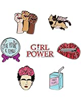 7 Cute Enamel Pins For Backpacks | Enamel Pin Set For Feminist Gifts | Cute Pins | Backpack Pins | Cat Pins | Funny and Cool Pins by The Carefree Bee (Set 1)