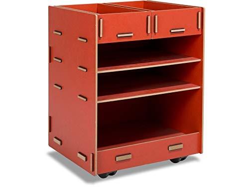 Modulor Kinder-Rollcontainer aus beschichtetem MDF, Schreibtisch Rollschrank (BxHxT: 38 x 49 x 34 cm) mit Zwei Schubladen und DREI Fächern, rot
