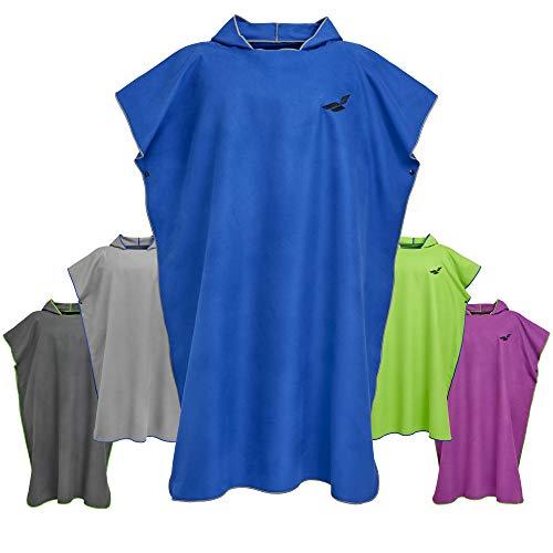 Fit-Flip Surf Poncho – Strandumkleide Handtuch Robe, Badeponcho, Umkleide Poncho – Größe L, dunkelblau/grau