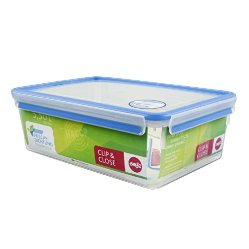 Emsa 508547 Rechteckige Frischhaltedose mit Deckel, 5,5 Liter, Transparent/ Blau, Clip & Close