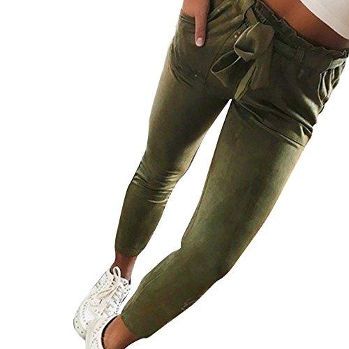 AmyGline Damen Hosen Paperbag Elastische Taillen Hose Casual Lange Hosen Sommerhose Sweatpants Freizeithose (Armeegrün, M)