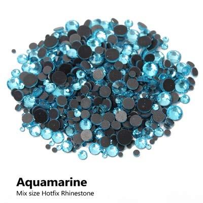 Astonish Hotfix Strass Blaues Licht crystalab Mix Größe Crystals Strass glänzend und Steine ??Strass-Stein für Kleidung: Aquamarin, Verpackung 1