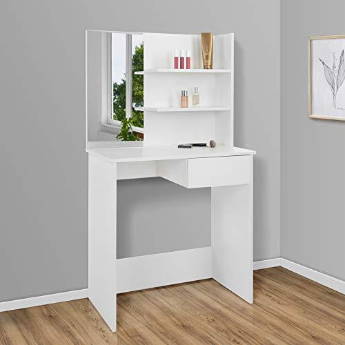 ECD Germany Tocador Moderno con Espejo Cajón Compartimentos 75x40x135 cm Blanco Fabricado en Madera MDF Mesa de Peluquería Cómoda para Retoques de Maquillaje Belleza Gabinete Make Up Dormitorio