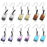 TIANHONGYAN 6 Pairs Creative Unique Bubble Boba Tea Dangle Earrings set Personality Milk Tea Drink Earring Colorful Glass Bottle Funny Earrings for Women Girl Jewelry Christmas Gifts (6 color)