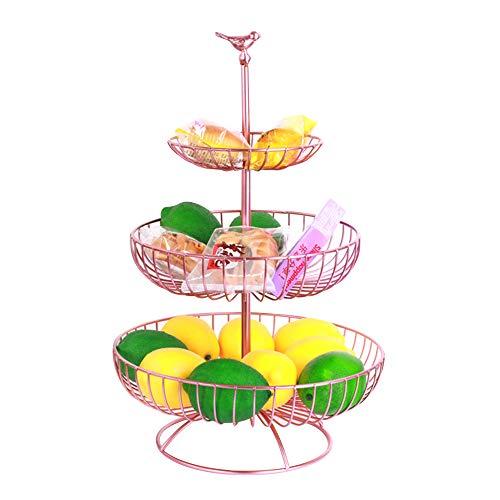 Apark Cesto Portafrutta - Fruttiera in Metallo a 3 Strati - Creativa Ciotola per Frutta con Moderna Cesto Portafrutta Anti-ruggine per Tavolo e Cucina - Dimensioni: 16.5 X 24.5 X 30 X 47 CM (Rosa)