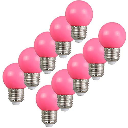 10per-pack Farbige Leuchtmittel LED 2W E27 G45 Birne Beleuchtung Glühbirne Leuchtmittel für Partybeleu chtung Biergartenbeleu chtung (rosa)