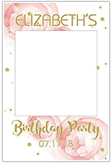 Roses and Gold Selfie Frame Social Media Photo Booth Prop Party Poster