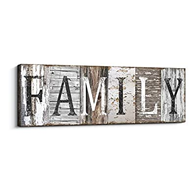 Quotes Wall Art Decor, Family Decorative Signs Inspirational Motto Canvas Prints (With Solid Wood Inner Frame) (Family, 8 x 24 inch)