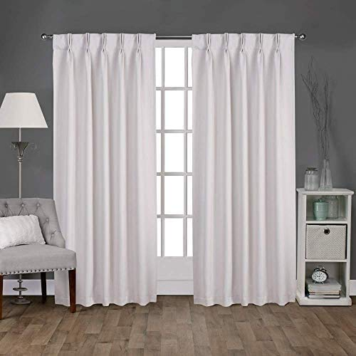 Magic Drapes Double Pinch Pleat White 100% Blackout Curtains & Thermal Insulated Window Panels (52x45,White)