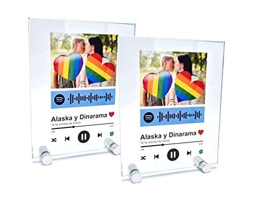 2 Cuadros en Cristal Personalizados con canción y Foto. Regalo Original. Regala música de una Forma Nueva. Impresión Directa en Cristal. Incluye Estuche y soportes (10x18cm 2 UNIDADES)