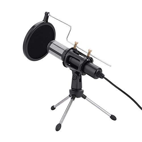 Jadpes Microfoon USB-stekker driverloos, USB-stekker condensatormicrofoon met statiefstandaard voor game chat studio-opnamecomputer