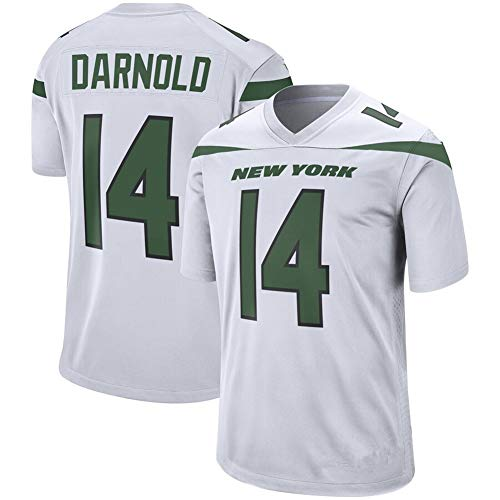 #14 Herren Rugby Trikot Sam Darnold New York Jets, Edition Jersey Sportswear Sport Top T-Shirt Fan American Football Trikot Swingman, 123, weiß, XXL(190~195)