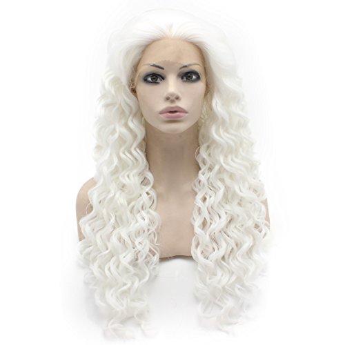 Kunsthaar-Perücke, 66 cm, extralang, gelockt, hitzebeständig, Kunstfaser, Lace-Front, Weiß