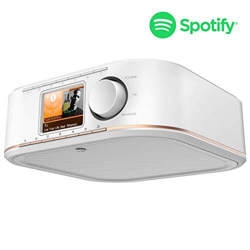 Hama Internetradio Küchenradio Unterbau (Streaming Spotify, unterbaufähig, 2,4 Zoll Farbdisplay, WiFi/WLAN, 2 Weckzeiten, Multiroom, Klemmmontage ohne Bohren, gratis Radio-App, Eieruhr) weiß/kupfer