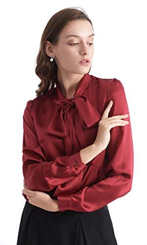 LilySilk Klassisch Seidenbluse Damenmode Seidenhemd Langarmbluse Damen Schluppenbluse Langarm aus 22 Momme Weinrot XXL Verpackung MEHRWEG