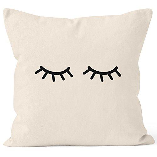 MoonWorks® Funda de cojín con diseño de ojos cerrados y pestañas, decorativa, de algodón, Wimpern Natur, 40 x 40 cm
