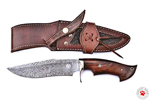 Bigcat Roar Custom Handmade Hunting Knife Bowie Knife Damascus Knife Bobcat Knives Damascus Steel Blade Full Tang Construction Walnut Wood Handle 12 inch Overall Size with Belt Wear Leather Sheath