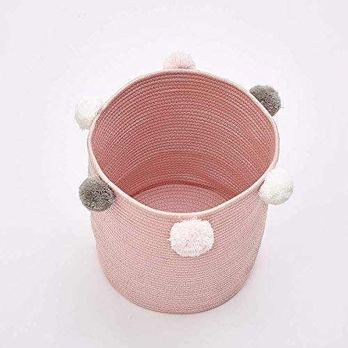 Hand Knit Round Storage Basket, Perfect Organizer for Toy Storage, Nursery opslag en wasmand for Knuffelbeesten, blokken, poppen, kostuums (grijs) aijia (Color : Pink)