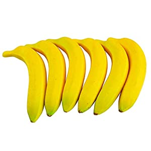 SAMYO Artificial Yellow Bananas Lifelike Simulation Fake Fruit Home House Kitchen Decoration 6pcs Set