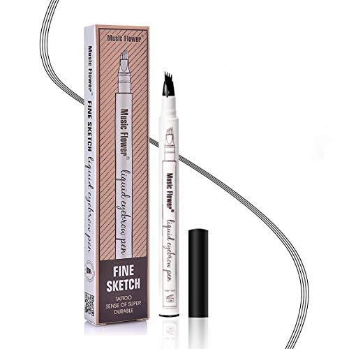 Augenbrauenstift Wasserfest - Waterproof Microblading Eyebrow Pen mit Tips Wasserfester Langenhaltend für Natürlich Augenbrauen Schminke (Schwarz)
