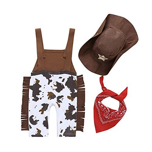 CiKiXZ Neugeborenes Baby Jungen Kleidung Set 3PCS Cowboy Kostüm Outfit Set Ärmellos Jumpsuit Overalls Strampler mit Schal und Mütze Babykleidung Fotografie Festlich Anzug (Braun, 6-12M)