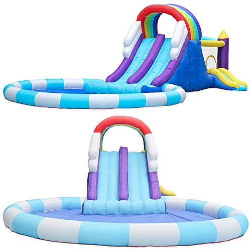 Castillo hinchable arcoíris para niños y casa de piscina, trampolín inflable con bomba de inflado, juego al aire libre, actividad en el jardín, ejercicio, diversión, 3-12 años, 840 * 580 * 255 cm