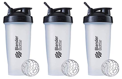 BlenderBottle Classic Loop Top Shaker Bottle 3-Pack, 28 oz (Black/Clear)