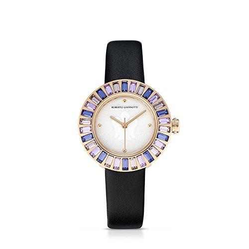 Orologio angelo in acciaio cristalli colorati cinturino in pelle e quadrante bianco ROBERTO GIANNOTTI ANT24