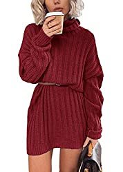 This womens sweater dress with a fine and light weight elastic knit perfect for easy-going everyday wear, breathable and elastic knitted fabric creates a relaxed fit. Solid color sweater high neck design will keep your neck warm, you will find this d...