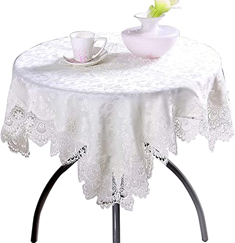 JJDSN Manteles de Encaje para mesas rectangulares, Mantel con Bordado Floral, tocador para frigorífico, tocador, a Prueba de Polvo, Blanco, 140x200cm