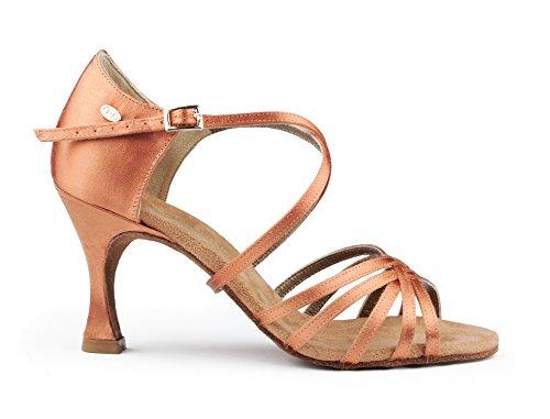 PortDance Mujeres Zapatos de Baile Latino PD631 Basic - Bronze Dark Satén - 5 cm Flare
