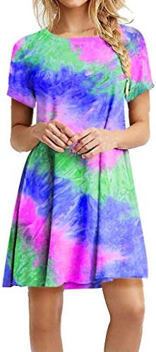 Forthery Women Summer Casual Short Sleeve Tie Dye Casual Loose Swing Midi Tee Shirt Dress Blue product image