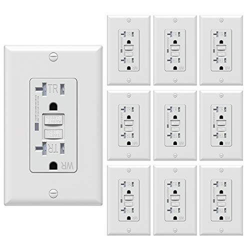 WEBANG 20 Amp GFCI Steckdose Outdoor, TR WR Selbsttest-Duplex-Buchsen, Erdfehler-Unterbrechungsunterbrecher mit LED-Anzeigeleuchte, Schrauben Wandplatte enthalten, 10 Stück, weiß