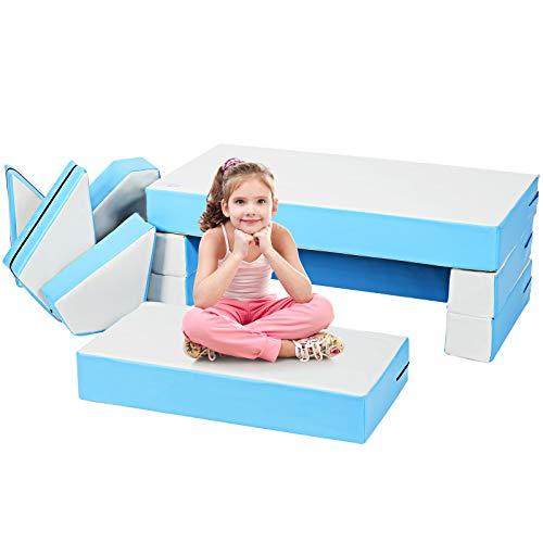COSTWAY 4 in 1 Kindersofa & Kindertisch & Bett & Puzzle Matraze aus 8 Schaumstoffbausteine, Spielsofa, Kindersessel, Spielmatraze für Kinder im Vorschulalter, Babys und Schulkinder (Blau)