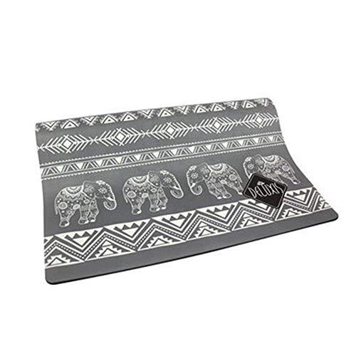 QMMCK Yogamat, natuurlijk rubber, hertenleer, oppervlak gedrukt, opvouwbaar, draagbaar, antislip, yogamat, oefenmat voor fitnessstudio, pilates-vloeroefeningen