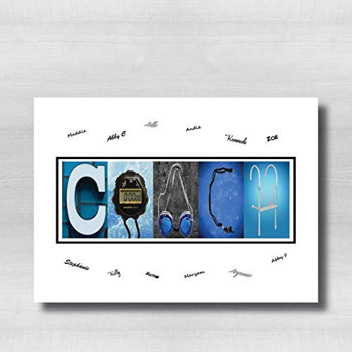 Gift for Swim Coach, Swimming Coach Gift, Players can sign the white area, 8x10 photo PRINT, printed on photo paper