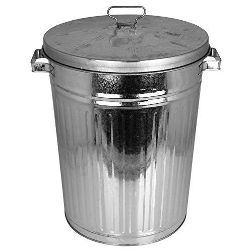 TW24 Zink Mülltonne 55L mit Deckel und Tragegriffen Mülleimer Abfalltonne Abfalleimer Abfalleimer