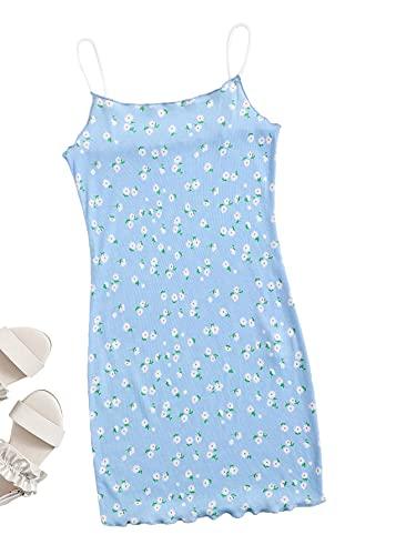 Romwe Girl's Cute Floral Spaghetti Strap Lettuce Trim Summer Bodycon Mini Dress Baby Blue 9Y