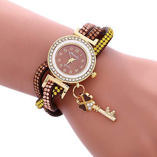ZHU Armbanduhren 3 STÜCKE Damen Vorhängeschloss Multicolor Armband Quarzuhr mit Diamant (Weiß) Schönheits-Uhr (Farbe : Coffee)